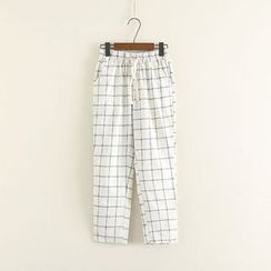 Mushi - Cropped Plaid Pants