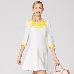 O.SA - Elbow-Sleeve A-Line Dress