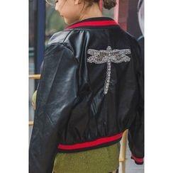 migunstyle - Rhinestone-Detail Faux-Leather Jacket