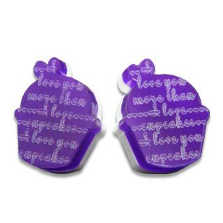 Sweet & Co. - I Love Cupcakes Mirror Violet Stud Earrings