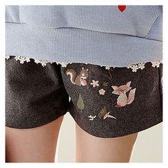 Sechuna - Band-Waist Embroidered Shorts
