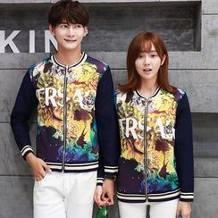 TOOI - Couple Matching Printed Zip Jacket