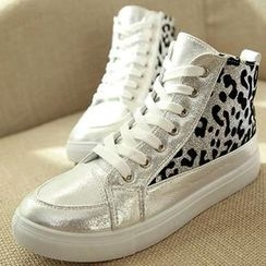 CHERRY BOW Faux-Leather Leopard-Print High-Top Sneakers