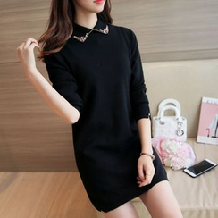 Bubbleknot - Long-Sleeve Collared Knit Dress