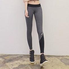 Lissom - Lettering Paneled Cropped Yoga Pants