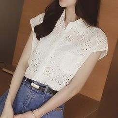 Cocofield - Cap-Sleeve Eyelet Lace Shirt