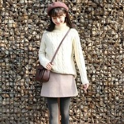 Wind Town - Turtleneck Cable-Knit Sweater