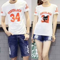 Igsoo - Couple Matching Printed Short Sleeve T-Shirt