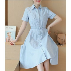 Dowisi - Short Sleeve A-Line Chambray Shirtdress with Belt