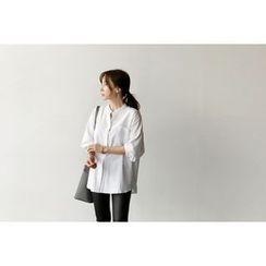 UPTOWNHOLIC - Mandarin-Collar Pocket-Detail Shirt