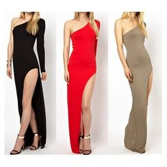 Forest Of Darama - One Shoulder Side Slit Sheath Evening Gown
