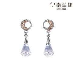 Italina - Moon Shaped Rhinestone Drop Earrings