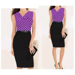 Forest Of Darama - Polka Dot Mock Two Piece Sheath Dress with Belt