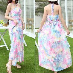Isadora - Floral Print Halter Maxi Chiffon Dress