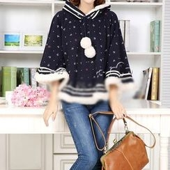 YR Fashion - Anchor Printed Pompom Hooded Cape