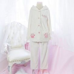 Rega - Pajama Set: Rabbit Ear Hooded Jacket + Pants