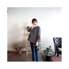 LEELIN - Frill-Sleeve Striped T-Shirt