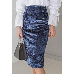 migunstyle - Velvet Midi Skirt