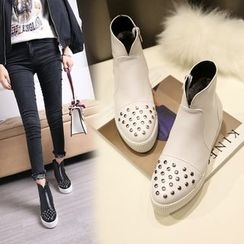 Shoes Galore - Studded Platform Ankle Boots