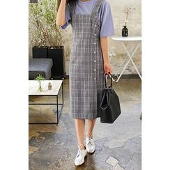 CHERRYKOKO - Square-Neck Plaid Midi Pinafore Dress