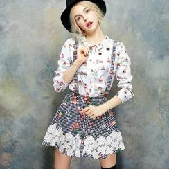 ELF SACK - Paneled Printed Gingham Jumper Skirt