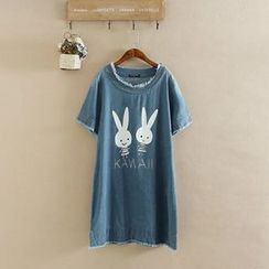 Cobogarden - Rabbit Print Fray Hem Short Sleeve Denim T-Shirt Dress