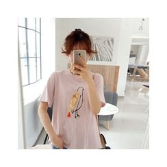 LEELIN - Sequined Bird Print T-Shirt