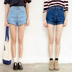 AiAi Bear - High-Waist Denim Shorts