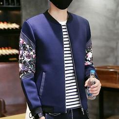 LIBIN - Floral Panel Zip Jacket