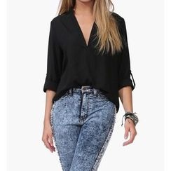 Dream a Dream - Open Placket Tab-Sleeve Chiffon Blouse