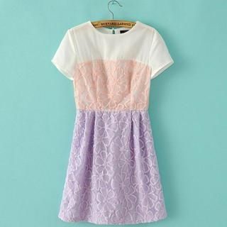 JVL - Short-Sleeve Color-Block Lace Dress
