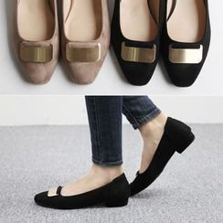 Reneve - Metal-Embellish Faux-Suede Flats