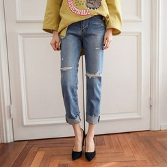 PPGIRL - Straight-Cut Distressed Jeans