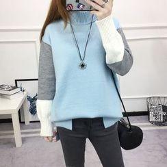 Dream Girl - Turtleneck Colour Block Knit Top