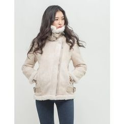 GUMZZI - Belted-Detail Faux-Shearling Jacket