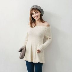Tokyo Fashion - Long-Sleeve Off Shoulder Knit Tunic