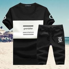T for TOP - Set: Lettering Crewneck T-Shirt + Drawstring Sweat Shorts