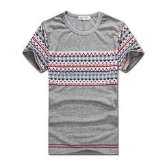 MR.PARK - Short-Sleeve Patterned Panel T-Shirt