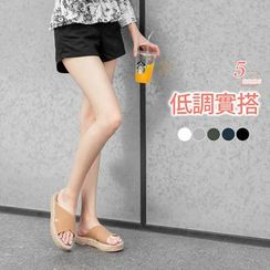 OrangeBear - 附皮帶素色斜紋棉感短褲
