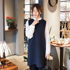 mimi&didi - Inset Striped Shirt Sleeveless Shift Dress