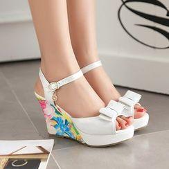 Pastel Pairs - Floral Print Ankle Strap Platform Wedges