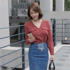 LIPHOP - V-Neck Dual-Pocket Blouse