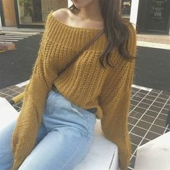 Anlay - Off-Shoulder Loose-Fit Batwing-Sleeve Cropped Sweater