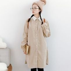 Forest Girl - Fleece Collar Corduroy Shirtdress