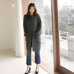 Hello sweety - Wool Blend Snap-Button Cardigan