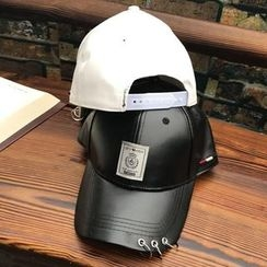 Hats 'n' Tales - Metal Rings Faux Leather Baseball Cap