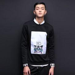 Alvicio - Cat Letter Long-Sleeve Sweatshirt
