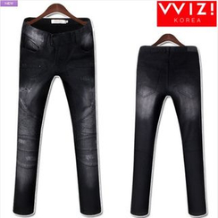WIZIKOREA - Washed Distressed Jeans