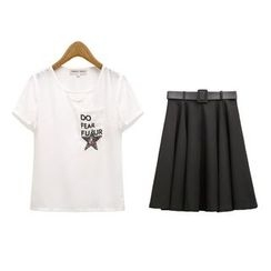 GRACI - Set : Star Short-Sleeve T-shirt + Skirt
