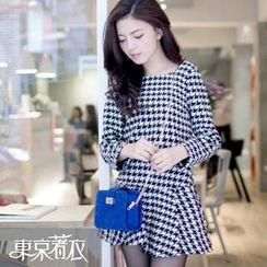 Tokyo Fashion - Set: Long-Sleeve Houndstooth Top + A-Line Skirt